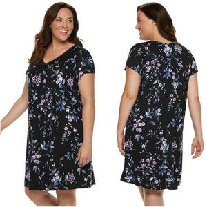 Croft & Barrow Black Floral Nightgown Plus Size 3X